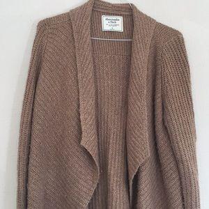 Cozy open sweater cardigan, light brown, A&F, sz S
